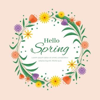 Cornice circolare floreale primavera design piatto
