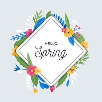 フラットなデザインの春の花のフレームデザイン