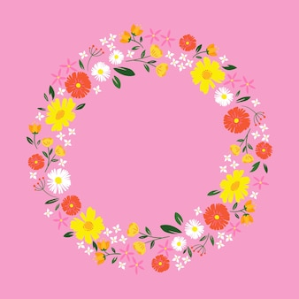 Flat design spring floral frame on pink background