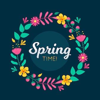 フラットなデザインの春の花のフレームスタイル
