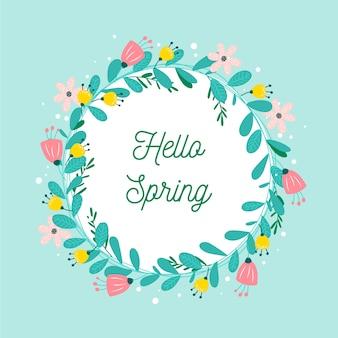 Flat design spring floral frame theme