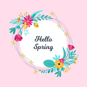 フラットなデザインの春の花のフレームのテーマ