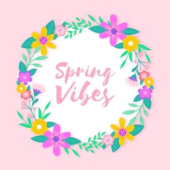 Flat design spring floral frame