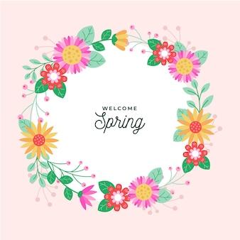 フラットなデザインの春の花のフレーム