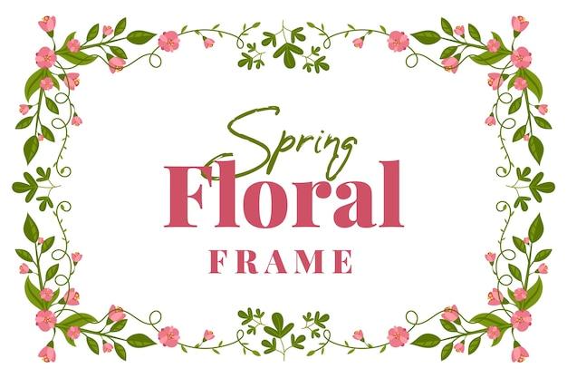 Flat design spring floral vintage frame
