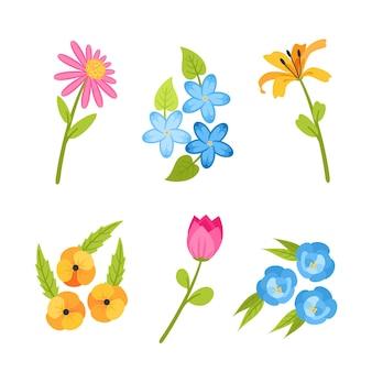 フラットなデザインの春の花のコレクションのコンセプト