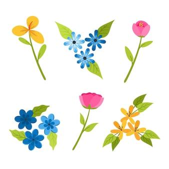 Плоский дизайн коллекции весенних цветов