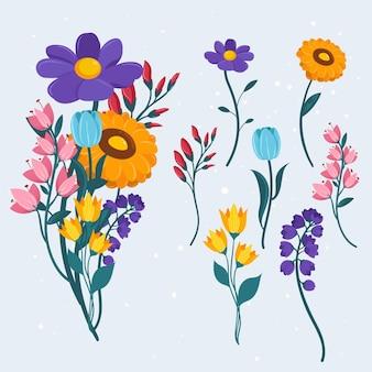 Весенняя цветочная коллекция в плоском дизайне