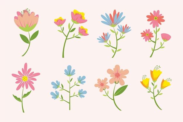 Collezione di fiori primaverili design piatto