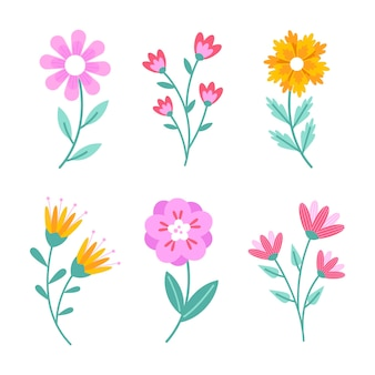 Flat design spring flower collection