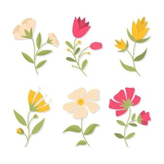 フラットデザインの春の花コレクション