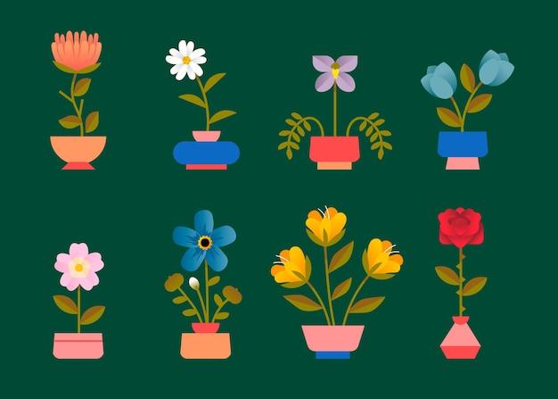 평면 디자인 봄 꽃 모음