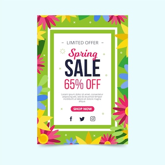 Flat design spring flyer template with colorful flowers