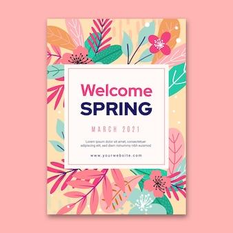 Весенний шаблон поздравительной открытки в плоском дизайне