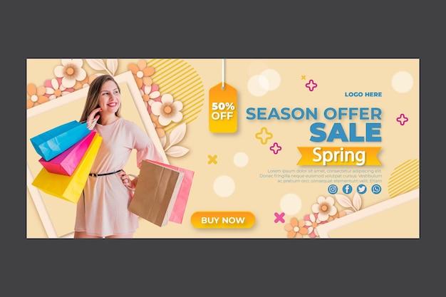 Flat design spring horizontal banner