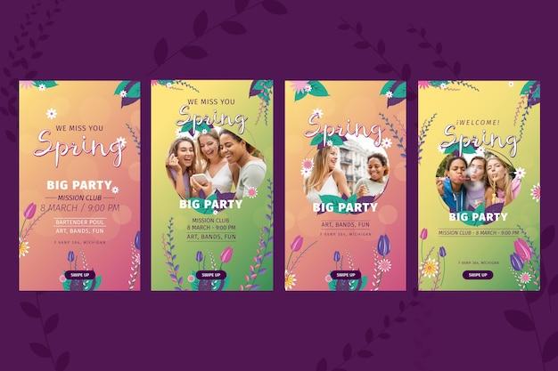 Storie di instagram di primavera design piatto Vettore gratuito