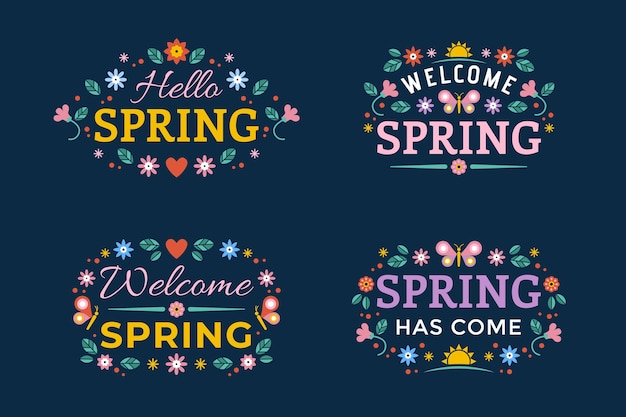 Flat design spring is here badge