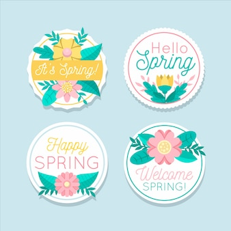 Flat design spring label collection theme
