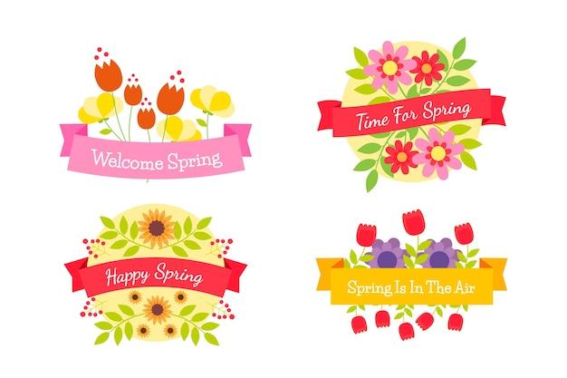 Flat design spring label collection