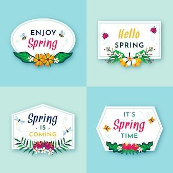 Flat design spring label set
