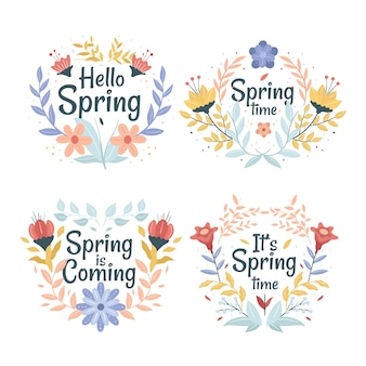 Flat design spring label with flowers and leaves