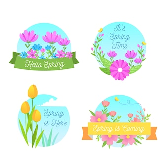 Flat design spring label with flowers