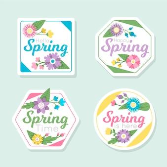 Collezione di etichette primaverili design piatto