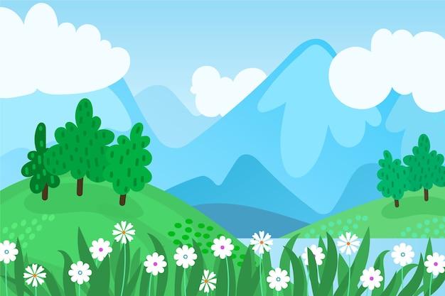 フラットなデザインの春の風景デザイン