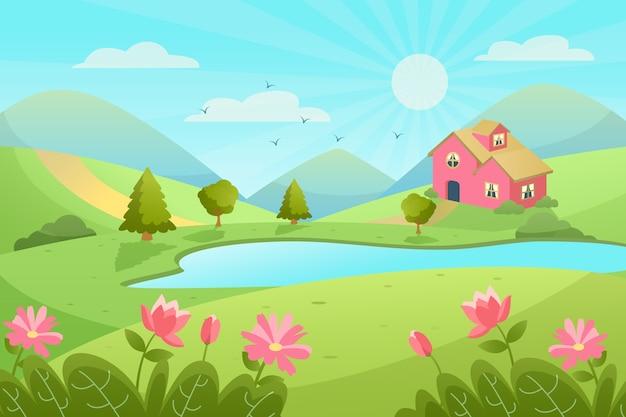 Плоский дизайн весенний ландшафтный дизайн