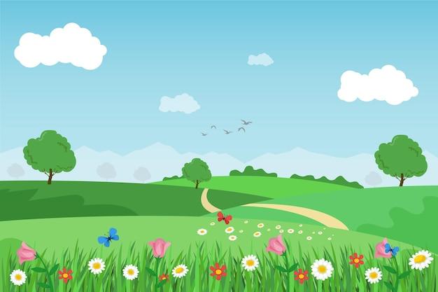 Плоский дизайн весенний пейзаж иллюстрированный