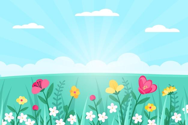 フラットなデザインの春の風景のテーマ