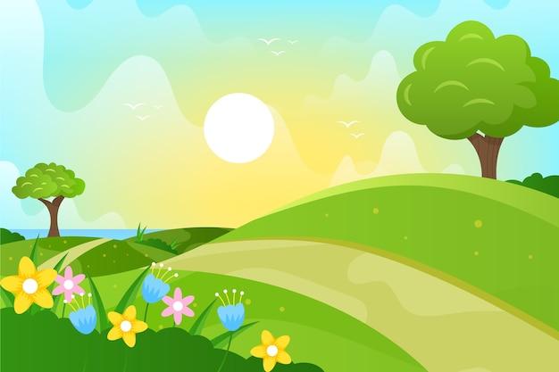 パスとフラットなデザインの春の風景