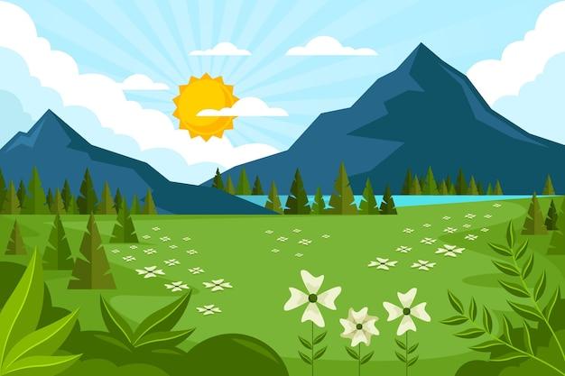 Flat design spring landscape
