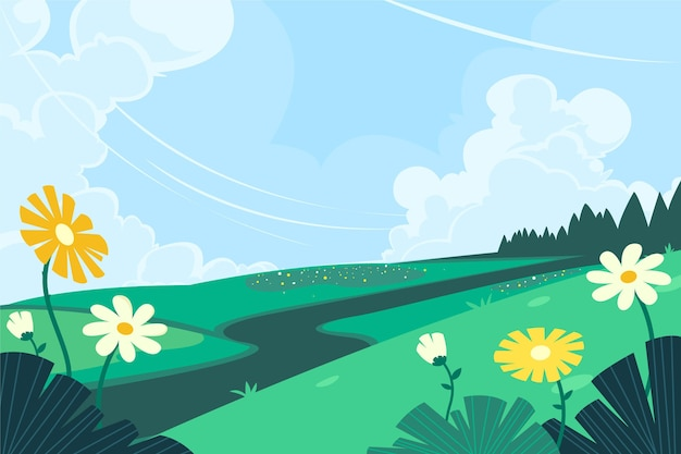 평면 디자인 봄 풍경