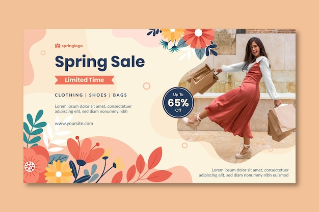 Flat design spring and model banner template