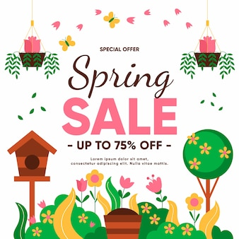 Flat design spring offers with bird house and tree