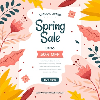 Flat design spring offers with colourful leaves and flowers