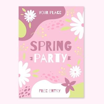 フラットなデザインの春パーティーフライヤーデザイン