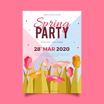 Flat design spring party flyer template theme