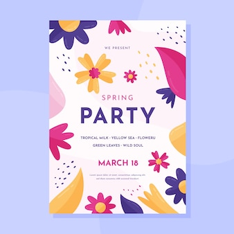 Плоский дизайн шаблона вечеринки в честь весны