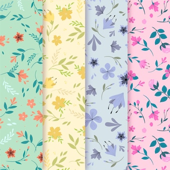 Flat design spring pattern collection concept