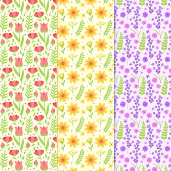 Flat design spring pattern collection design