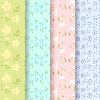 Flat design spring pattern collection design