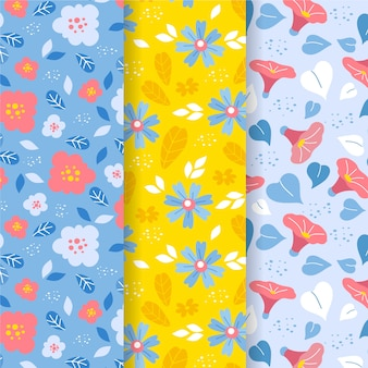 Flat design spring pattern collection theme