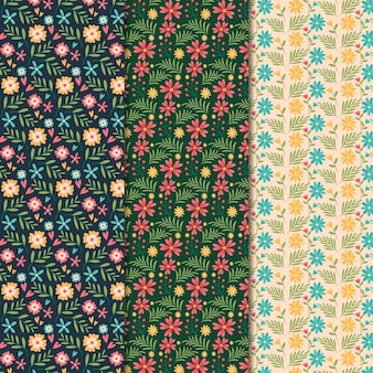 Flat design spring pattern collection
