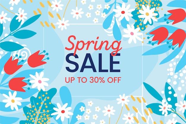 Flat design spring promotional sale design