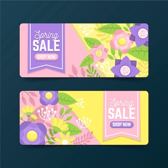 Flat design spring sale banner collection concept