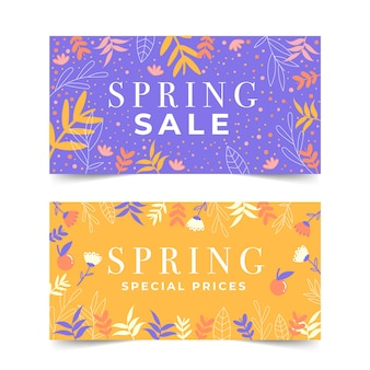Flat design spring sale banner collection theme