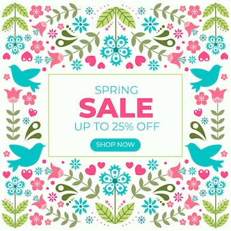 Flat design spring sale banner with flowers