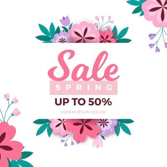 Flat design spring sale banner